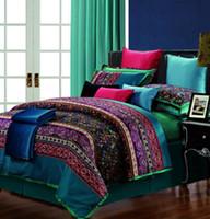 al por mayor reina de paisley colcha-Ropa de cama de lujo de Paisley del algodón egipcio cama de cubierta del edredón del edredón del tamaño de la reina del rey de la reina en un bolso hojas sábanas ropa de cama sábanas 20 diseños