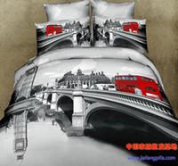 Wholesale 3D Grey gray bridge comforter bedding set queen bed linen sheet quilt duvet cover bedspread bedsheet oil painting cotton river