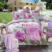 Adult Twill 100% Cotton pink white Tulip 4pc bedding set 3d luxury bed Linen Queen king size Duvet Quilt cover flat bedsheet and pillow sham sets cotton