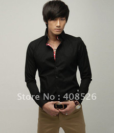 Wholesale Casual Men s Shirts Slim Fit Stylish Dress black Color size M L XL