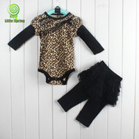 Girl Spring / Autumn  Wholesale - New style! Baby's clothing Leopard blue long sleeves rompers + pantskirt false two-pieces LZ-T0179A TG