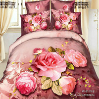 Adult Twill 100% Cotton 4pcs bedding set 3d flowers bedclothes queen king full size duvet quilts comforter cover bed linen sheets sets Cotton material