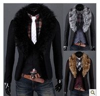 Wholesale 2014 High quality Tweed collars suit men s fashion leisure blazer jackets for men blazers for men Black M XXL