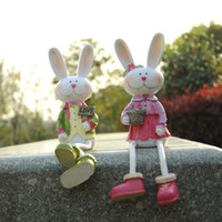 Wholesale home furnishing excellent European style garden resin crafts home accessories wedding gift hanging foot rabbitYY8 YY