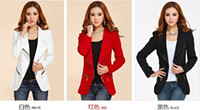 Wholesale Tide Autumn New Women s Lapel Oblique Zipper Slim Small Suit Long Sleeve Coats
