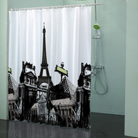 Wholesale 71 quot x quot Paris Eiffel Tower Bathroom EVA Bath Shower Curtain Waterproof Hook