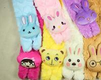 Wholesale Baby Cartoon Scarf Children Warmer Neckerchief Animal Pattern Scarves With Coral Fleece