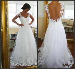 Wholesale 2014 Sexy Backless Beach A Line Lace Tulle Wedding Dresses Sweetheart Neckline Short Sleeves Court Train