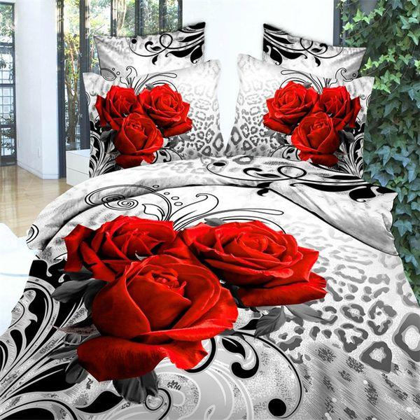 Роскошные 3d масляной живописи красный цветок комплект постельных принадлежностей королева королевского размера 100% хлопок 4 шт утешитель / пододеяльники простыню постельное белье набор