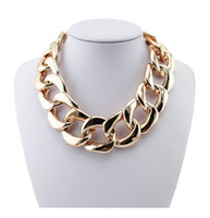 Wholesale Fashion Chunky Rose Gold Twisted Link Chain Ladies Statement Choker Necklace Jewelry VN