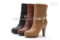 Women Pumps Winter 2014 Italy Brand Snow Boots High Quality Women's Sheepskin Sequined Chains Boots High Heels 3 Color