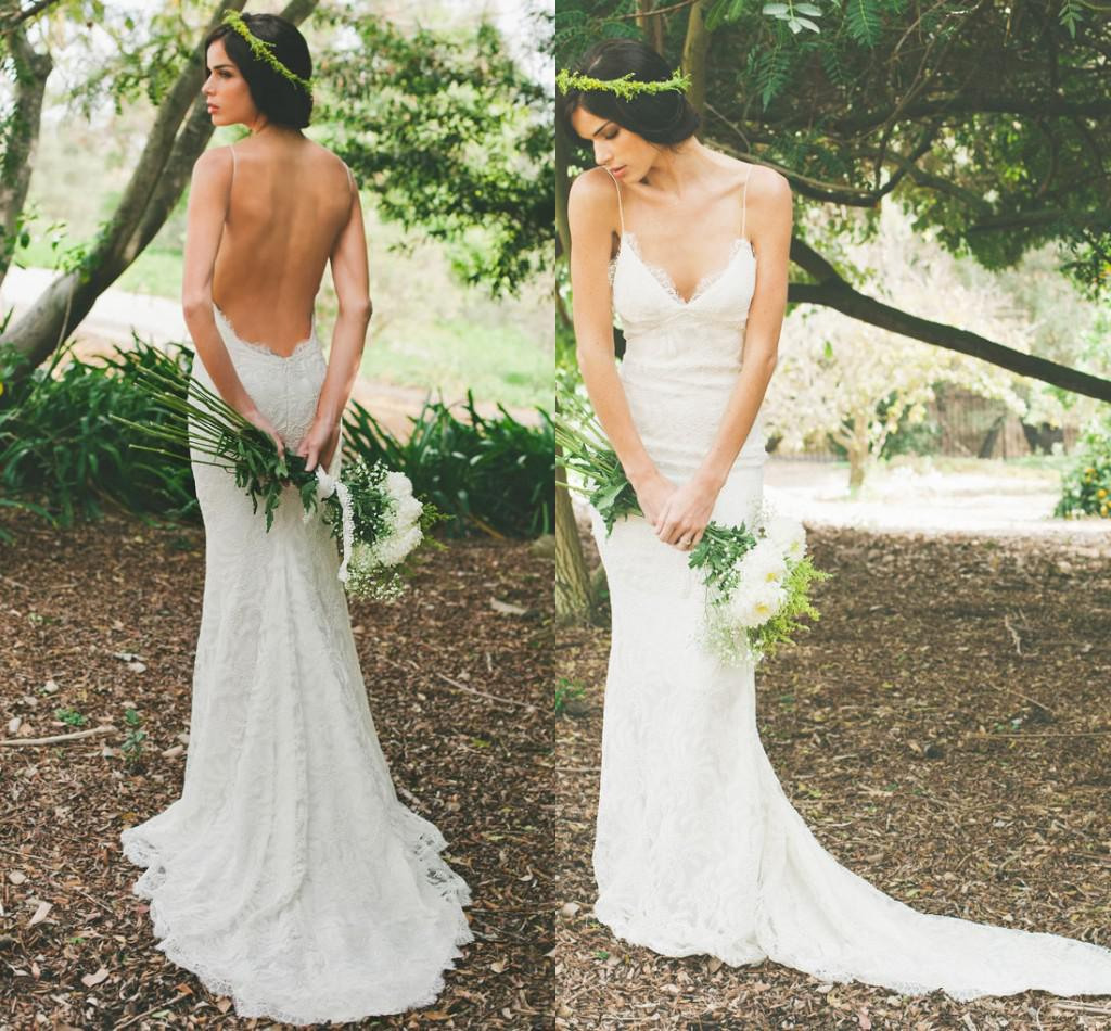 Katie May Spaghetti Straps Lace Backless Beach Wedding