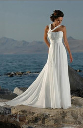 2019 New white Ivory Sleeveless Beach Chiffon A line Court Train Lace Up Sexy Summer Bridal Wedding Dresses