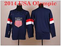 Ice Hockey Men Full 2014 USA Olympic Hockey Jersey Best Price Navy Blue Jersey National Team USA Jersey Newest Blank Hockey Jerseys M to XXXL Sports Jerseys