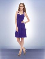 Wholesale New Arrival Halter Chiffon Purple Short Bridesmaid Dresses Knee Length Charming Short Halter Girls Wedding Party Dress Gowns