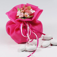 Wholesale Dia cm New Design Color Flower Top Gauze Candy Bag MINI Fragrance Sachet Valentine s Gift Wrap CK095