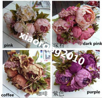 Wholesale one piece cm quot Length Artificial Silk Flowers Simulation European Cored Peony Centerpiece Peonies Foam Hydrangea Wedding Flower