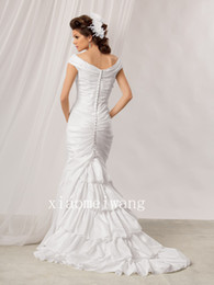 Wholesale Jordan Reflections m166 off shoulder tiered ruffles covered button mermaid style suitable for beach garden Wedding Dresses Bridal Gown