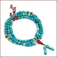 Auténtico ónix azul-verde natural brasileña 108 cuentas pulseras regalo cristal pulsera mujer 6421387