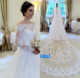 2016 Lace Wedding Dresses Without Veil Illusion Long Sleeve A Line Chapel Train Ribbon Vestidos de Noivas Wanda Borges Inspired Bridal Gowns