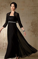 Wholesale A Line Strapless Floor Length Black Chiffon Mother Of The Bridal Long Sleeve Jacket Dresses Appliques Sexy Evening Dresses