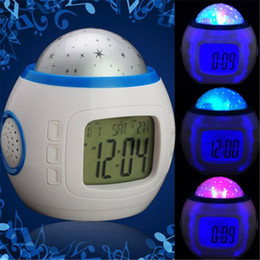 Wholesale Music Colorful Starry Star Sky LED Projection Projector Light Alarm Clock White Calendar Thermometer