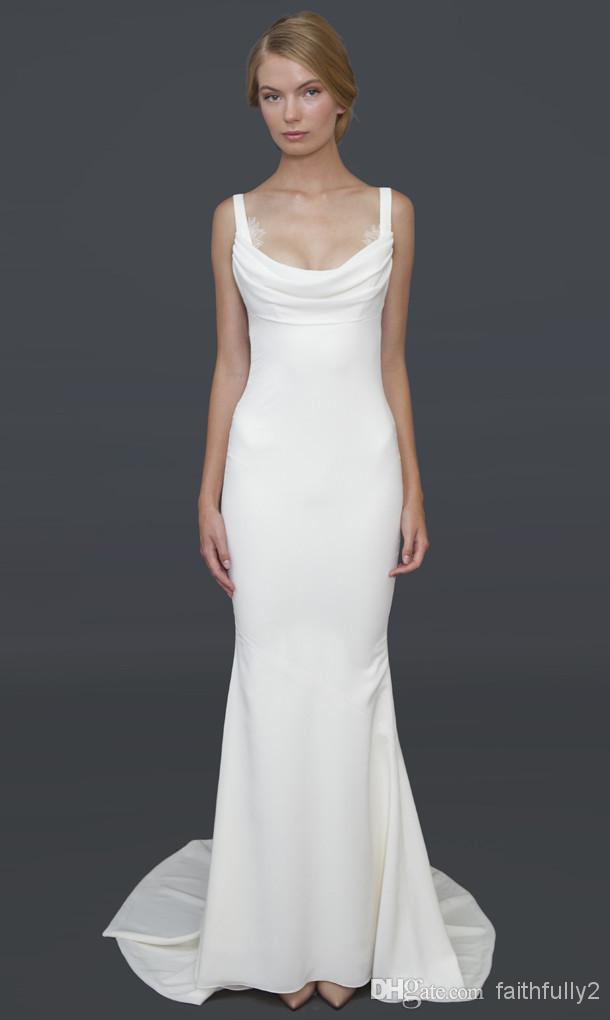 Cheap 2014 katie may beach wedding dresses spaghetti for Black and white beach wedding dresses