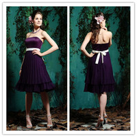 Wholesale 2014 New Purple Chiffon Bridesmaid Dresses Sheath Party Gowns Sleeveless Strapless Zipper Bow Tea Length Sexy Fashion BD082