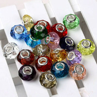 Wholesale Murano Faceted Glass Random Color European Charms Spacer Loose Beads Big Hole Fit Pandora Charm Bracelet Necklace Jewellery beads