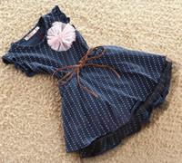 TuTu big lantern - 2015 Summer Girls Blue Dot Dress Skirt with big flower Belt baby short sleeved dresses Children s Dresses girls Ruffle Layer Skirt T