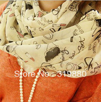 Wholesale women s scarf autumn and winter lipstick high heeled shoes doodle sun cape long design silk scarf pashmina