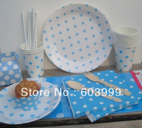 Wholesale White with Blue Polka Dots Partyware Paper Plates Cups and Napkins Table covers Straws Wooden Spoons Forks cupcake wrapper box