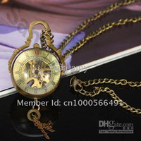 Quartz balls skeletons - Steampunk Style Glass Ball Skeleton Mechanical Pocket Watch Necklace Chain PW017 promotion