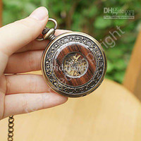 Wholesale Wood Grain Case Hollow Mechanical Pocket Watch W Chain