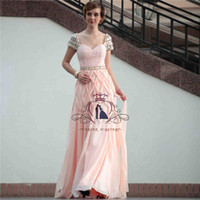 Cheap 2014 New Romantic Pink Evening Dresses A Line Floor Length Short Sleeve Portrait Backless Beads Appliques Crystal Peplum Amazing Noble Dress