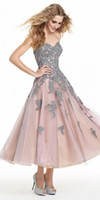 beautiful prom dresses - Beautiful A Line Prom Dresses Sweetheart Appliques Organza Tea Length Wedding Party Dresses Custom