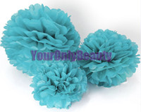 Wedding blue tissue paper - Hot Sale High Quality Blue Tissue Paper Pom Poms Flower Balls Wedding Party Decor Paper Crafts Mixed C