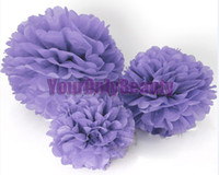 Wholesale Hot Sale High Quality Lavender Tissue Paper Pom Poms Flower Balls Wedding Party Decor Paper Crafts Mixed C