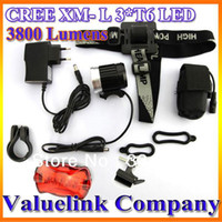 Wholesale Lumens CREE XM L T6 LED Bycicle Light HeadLight headLamp Bike cycling with rear light amp Retails