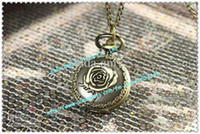 Wholesale Rose pattern brone classical pocket watch Pendant necklace watch
