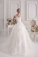 Model Pictures new york dresses - Wide Straps Appliqués Ball Gown Bridal Dresses Beading Wedding Gown New York