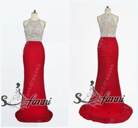 Real Photos High Neck Satin Custom Made 2014 Sexy Inspired Beaded High Neck Red Prom Dresses Evening Gowns Get 1 Free Earring SKU11-14