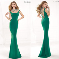 Reference Images Crew Chiffon Tarik Ediz 2014 Spring Summer Evening Gown Formal Prom Dresses With Sweet-heart Sheer Back Beads Crystal Green Mermaid High Neck Chiffon