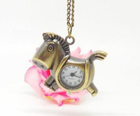 Wholesale New Coming Fashional Beautiful Cartoon Quartz Pocket Watch Hours Brass Color Copper Alloy Material Horse Shape FreeShipping