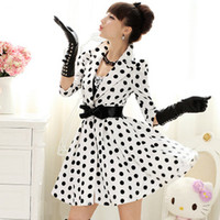 Tench coats Women Middle_Length 2014 new fashion autumn white and black polka dot half sleeve big skirt women's medium long trench coats overcoat outerwear free shipping