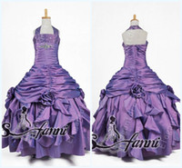 Real Photos Girl Beads Custom Made 2014 Sparking Beadeds little Kids Halter Ball Gown Girl Pageant Dress Flower Girl Dresses Get 1 Free Earring SKU11-18