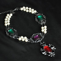 Cheap 2014 High Quality necklace fashion Unique costume chunky choker crystal pendants luxury statement necklace jewelry women
