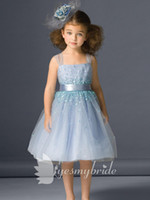 Girl accent beads - 2014 Light Blue Adorable Sheer Straps Knee length Flower Girls Dresses With Beads Sequins and Sash Accent Nice A Line Tulle Kids Gowns