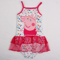 Wholesale In stock baby girls PEPPA PIG cute swimwear cotton summer girls cartoon one piece bathing swimsuit wear