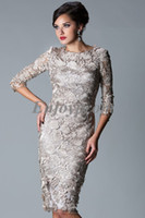 Scoop amazing cocktail dress - 2014 New Hot Cocktail Dresses Amazing Lace Covered Half Sleeves See Through Sheath Knee Length Cheap Prom Dresses